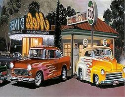 50'S DINER CARS GAS STATION  MOUSE PAD  IMAGE FABRIC TOP RUB