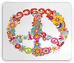 Ambesonne 70s Party Mouse Pad, Peace Sign with Colorful Flow