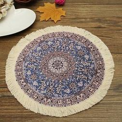 "9"" Round Mouse Pad Persian Carpet Fringe Rug Oriental Fabric"