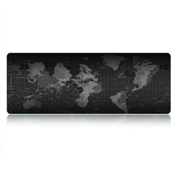 Black Extended World Map Gaming Mouse Pad Keyboard Pad Full