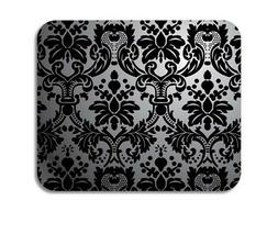 """CUSTOM Mouse Pad 1/4"""" - Silver Black Damask - Ships from USA"""