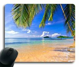 Gaming Mouse Pad Shore Palms Tropical Beach Oblong Shaped Mo
