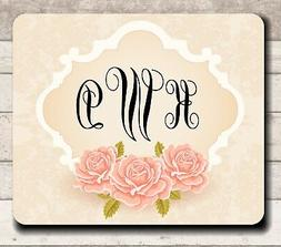 **MOUSE PAD - PINK ANTIQUE ROSES WITH MONOGRAM - QUALITY! PE