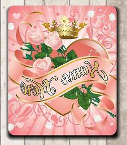 **MOUSE PAD - PINK ROSES WITH PRINCESS CROWN - QUALITY! PERS
