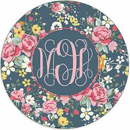Monogrammed Mouse Pad - Floral Roses Personalized Gift Monog