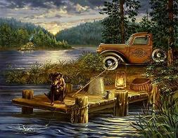 NIGHT FISHING DOG CABIN LAKE   MOUSE PAD  IMAGE FABRIC TOP R