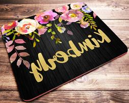 Personalized Mouse Pad Floral Drop Custom Name Desk Accessor