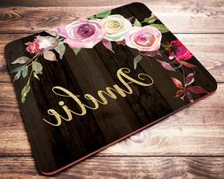 Personalized Pink Roses Floral Mouse Pad Computer Desk Acces