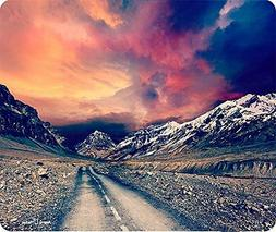 Retro Effect Road To The Mountains Mouse Pad