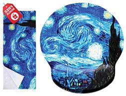Van Gogh Starry Night Ergonomic Design Mouse Pad with Wrist
