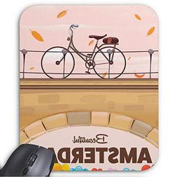 Beautiful Amsterdam Cycling Travel Poster. Mouse Pad 11.8×9