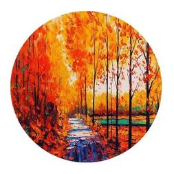Beautiful Autumn Natural Scene Watercolor Painting Yellow Tr