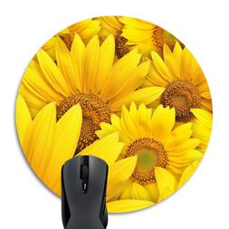 Wknoon Awesome Sunflowers Round Mouse Pad Customized Cute Br