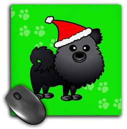 Black Pomeranian w/Santa Hat Green Background Mouse Pad mous