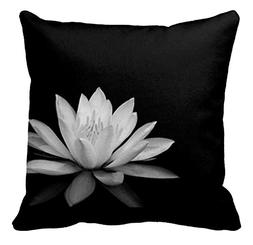 Black and White Lotus Flowers Pattern Pillowcase Sofa and Ca