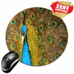 BlueBerry Design Blue Peacock Round Mouse Pad Mousepad - Ide