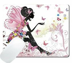 Wknoon Butterflies Fairy Mouse Pad, Cartoon Fairytale Pink B