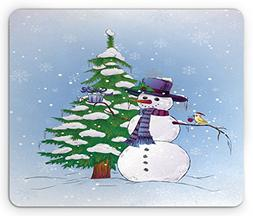 Ambesonne Christmas Mouse Pad, Snowman in The Winter with Mi