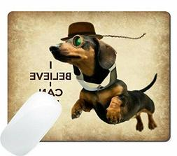 Wknoon Custom Mouse Pad Funny Sausage Dog Cute Flying Dachsh