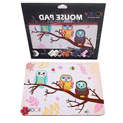 ICOLOR Cute Three Owls Design Computer Optical Neoprene Mous