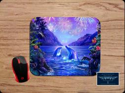 DOLPHINS & FIREWORKS SCENIC FANTASY ART PC MOUSE PAD DESK MA