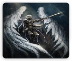 Ambesonne Fantasy Mouse Pad, Angel Knight with Majestic Wing