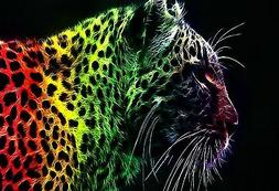 FANTASY RAINBOW LEOPARD    MOUSE PAD  IMAGE FABRIC TOP RUBBE