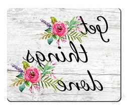 Floral Mouse Pad Motiavation Quote Get Things Done Neoprene