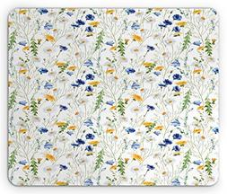 Ambesonne Flower Mouse Pad, Wild Flowers Poppies and Daisies