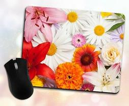 Flower Mouse Pad • Rose Daisy Sunflower Lily Petals Girly