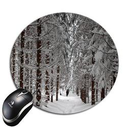 """Blueberry Design Forest Trees with Snow 8"""" Round Mouse Pad M"""