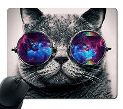 Smooffly Gaming Mouse Pad Custom,Galaxy Hipster Cat Wear Col