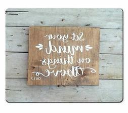Wknoon Gaming Mouse Pad Custom, Bible verse Wood signs sayin