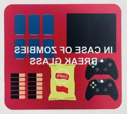 Gaming Mouse Pad In Case of Zombies Break Glass TV Soda Cont