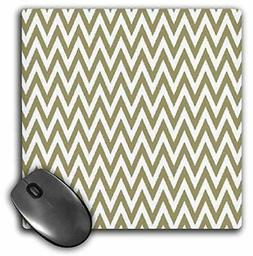 "3dRose Gold & White Chevron Stripes Mouse Pad, 8"" x 8"""