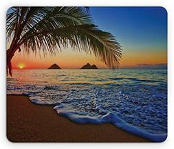 Ambesonne Hawaiian Mouse Pad, Pacific Sunrise at Lanikai Bea