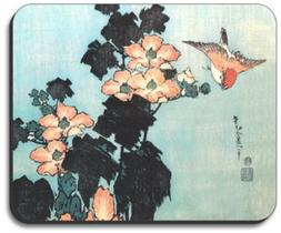 Hukusai: Hibiscus & Sparrow Mouse Pad - By Art Plates