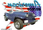 1950 Blue Jeep Jeepster Custom Hot Rod USA T-Shirt 50 Muscle