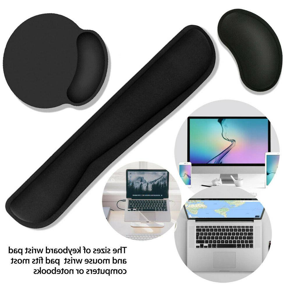 2pc Memory Foam + Fabric For Keyboard Mouse Mat