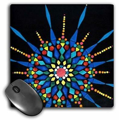 3dRose LLC 8 x 8 x 0.25 Inches Gemstone Mosaic Mandala Mouse