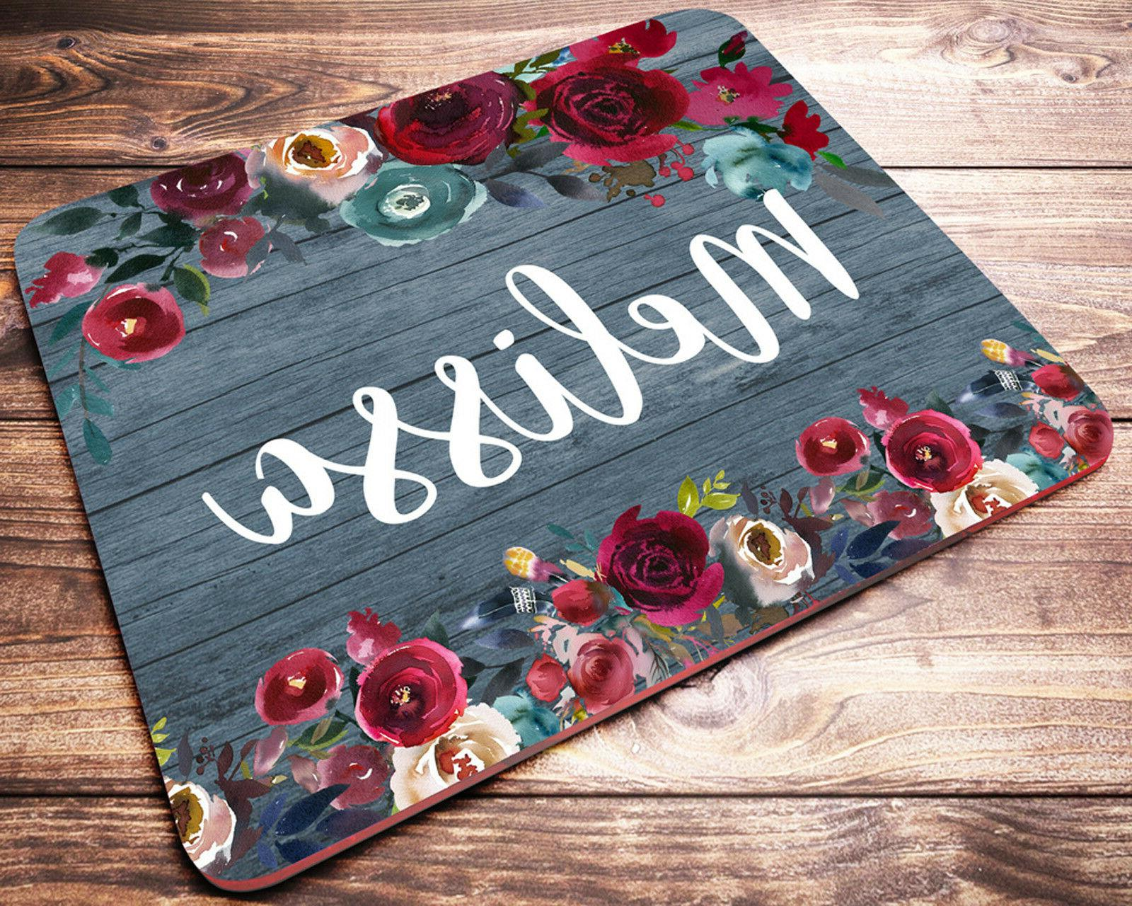 Custom Name Personalized Mouse Pad Red Roses Office Desk Acc