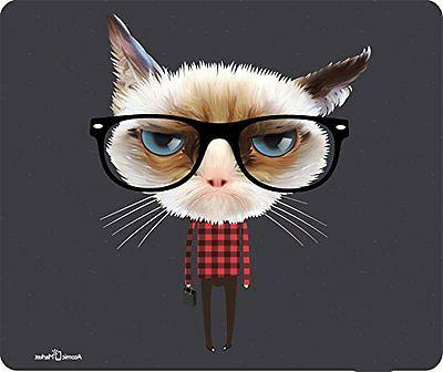 Hipster Grumpy Unhappy Cat Head Mouse Pad