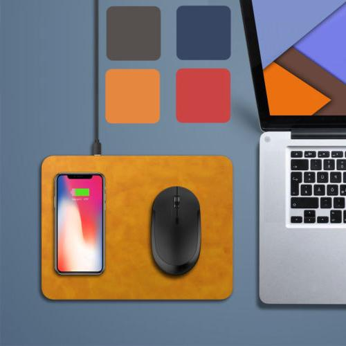 Leather Mouse Pad Qi Wireless Charger For iPhone X 8 Plus Sa