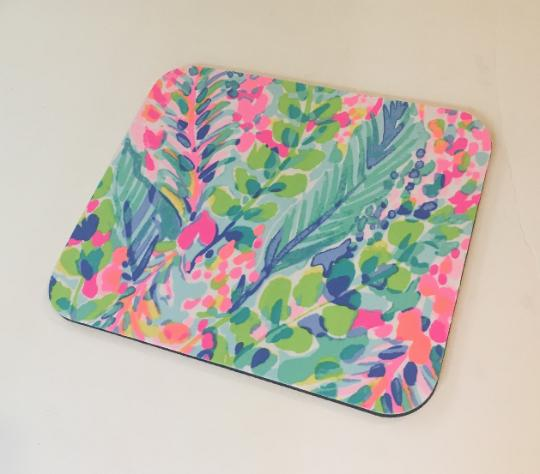 Lilly Pulitzer fabric Mouse pad made with Multi Catch the Wa