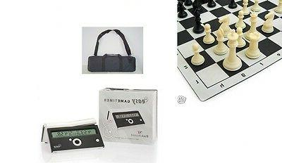 "SET 4"" CHESS PIECES MOUSEPAD BOARD BAG DIGITAL CLOCK DGT EAS"