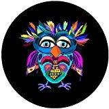 Animal Series Cool Owl Multicolored Special Black Round Mous
