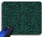 Black and Teal Swirls Rectangle Mouse Pad