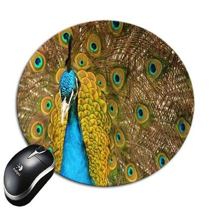 blue peacock round mouse pad