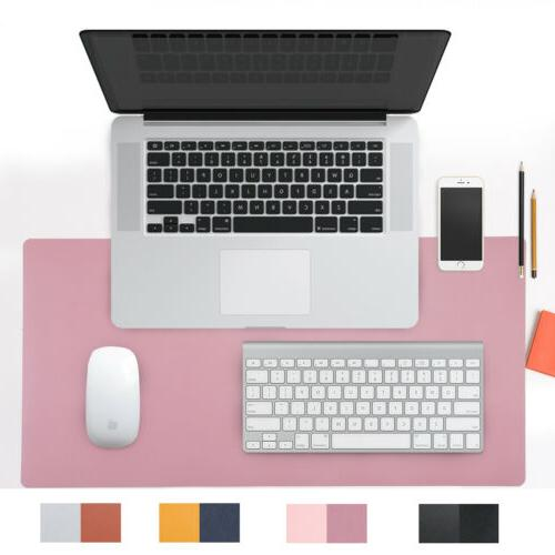 Dual Sided Pink PU Leather Desk Pad Mat Desk Blotter Protect