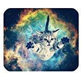 Galaxy Space Cat Mini Design Gaming Mouse Pad Rectangle Mous